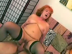 Eva, Ryan - redhead, stockings, cock riding, fat, natural tits