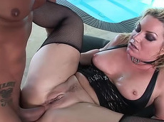 Flower Tucci - blowjob, blonde, shaved pussy, milf, chubby, cumshot, fishnet, licking, corset, natural tits, hardcore