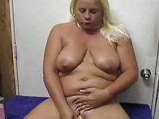 Taylor Foxe - blonde, shaved pussy, dildo, chubby, fat, solo girl