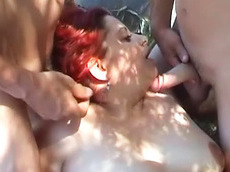 Mary F - blowjob, outdoors, redhead, shaved pussy, facial, fat, sex, HD