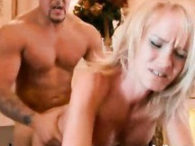 Blonde MILF Bends Over and Gets Nailed By A Younger Buff Dude