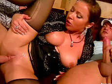 big tits, threesome, slut, chubby, pantyhose, cumshot, pissing, nylon, cock sucking